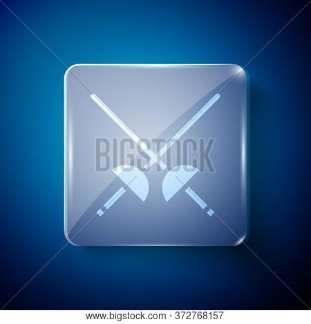 White Fencing Icon Isolated On Blue Background. Sport Equipment. Square Glass Panels. Vector Illustr