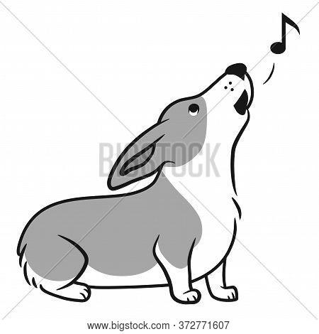 Howling Corgi Dog Vector Cartoon Black And White Illustration. Cute Sitting Friendly Welsh Corgi Pup