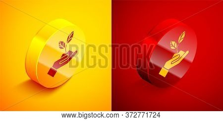 Isometric Plant In Hand Of Environmental Protection Icon Isolated On Orange And Red Background. Seed