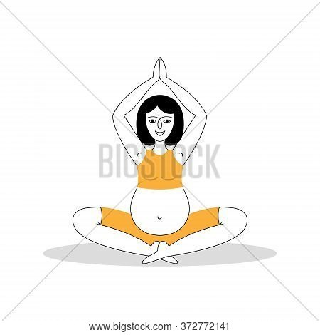 A Young Beautiful Pregnant Woman Meditates On The Floor. Hand-drawn Vector Illustration Of Pregnant