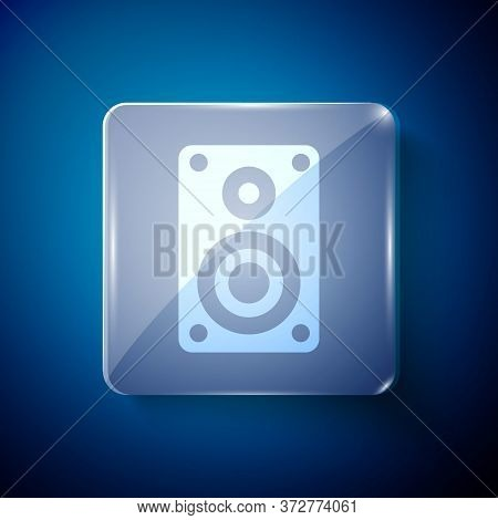 White Stereo Speaker Icon Isolated On Blue Background. Sound System Speakers. Music Icon. Musical Co