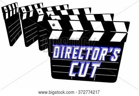 Directors Cut Movie Original Unedited Version Extended Footage 3d Illustration