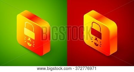Isometric Key Broke Inside Of Padlock Icon Isolated On Green And Red Background. Padlock Sign. Secur