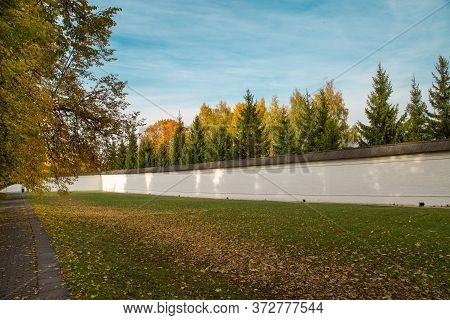 The Wall Of The Sovereign's Court In Autumn On A Sunny Day In The Museum-reserve Kolomenskoye. Mosco