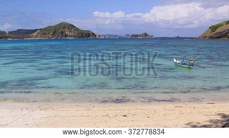 Jukung Indonesian Fishing Boat At Kuta Lombok. Kuta Lombok Is An Exotic Paradise On The Indonesian I