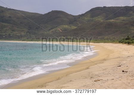 Mawun Beach In Lombok Indonesia. Kuta Lombok Is An Exotic Paradise On The Indonesian Island, With Be