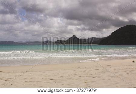 Pantai Mawun An Exotic Bay In Lombok, Indonesia. Kuta Lombok Is An Exotic Paradise On The Indonesian