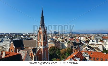 Cityscape Of Wien, Vienna, Austria. Europe. Wien Panorama, Cityscape Roofs Of Houses And Church. Tra