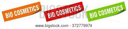 Bio Cosmetics Sticker. Bio Cosmetics Square Isolated Sign. Bio Cosmetics Label