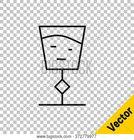 Black Line Wine Glass Icon Isolated On Transparent Background. Wineglass Sign. Vector Illustration