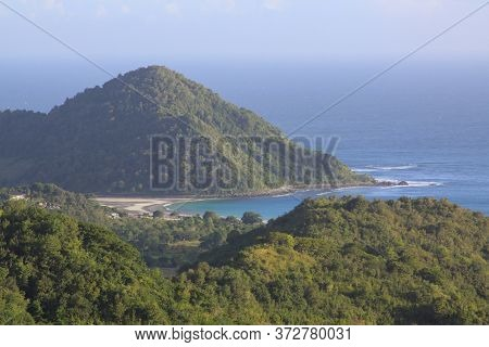 Panoramic View Of Mawi Beach In Lombok, Indonesia. Kuta Lombok Is An Exotic Paradise On The Indonesi