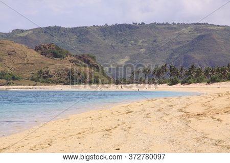 White Sand On Kuta Lombok Beach, Indonesia. Kuta Lombok Is An Exotic Paradise On The Indonesian Isla