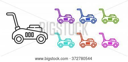 Black Line Lawn Mower Icon Isolated On White Background. Lawn Mower Cutting Grass. Set Icons Colorfu