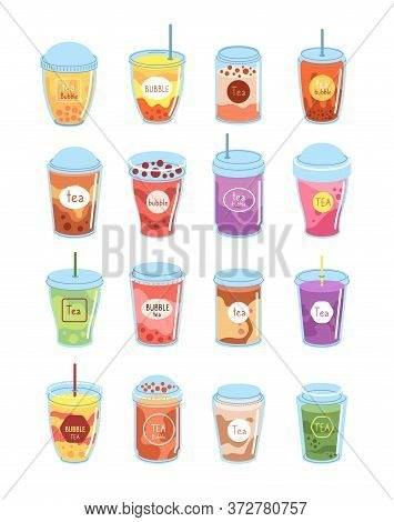 Bubble Tea. Boba Milk Dessert, Cup Drink. Taiwan Drinking Lifestyle, Cold Latte, Mocha Coffee. Fruit