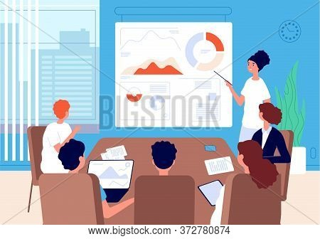 Business Conference. Woman Team Leader, Financial Analyst At Blackboard With Charts. Office Meeting,