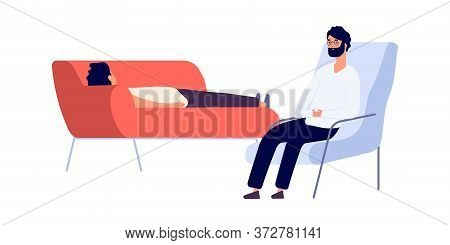 Psychotherapist And Patient. Flat Man On Psychotherapy Session. Psychologist Consulting Depressed Gu