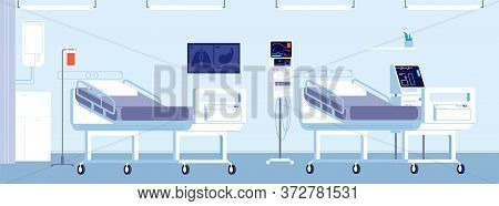 Hospital Room Interior. Healthcare Doctor Office, Clinic Equipment. Modern Medical Indoor Design Wit