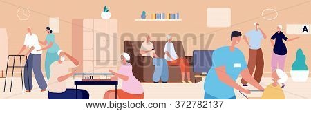 Nursing Home. Old Woman Man Living In Senior House. Doctor Nurse Care Elderly People. Happy Retired,