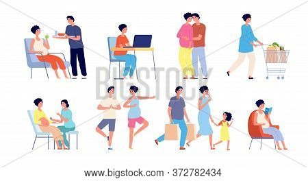 Pregnant Couple. Relaxing Yoga, Pregnancy Stretching Gymnastics Poses. Waiting Baby Daily Routine, H