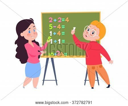 Boy Learns Count. Arithmetic Lesson For Toddlers, Children Play In School. Sister And Brother Doing