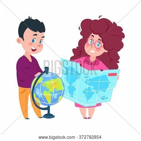 Geography Lesson. Cute Girl With Map And Boy With Globe. Isolated Cartoon Little Joyful Schoolchildr