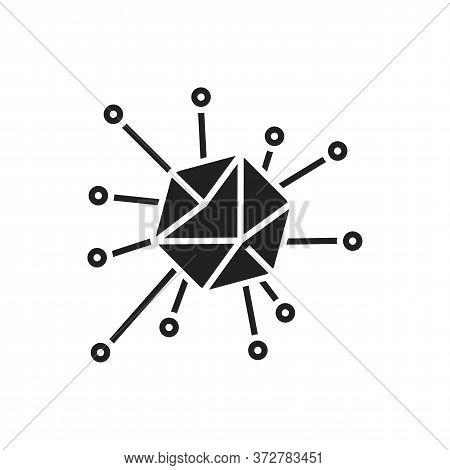 Adenovirus Black Glyph Icon. Respiratory Infections. Bacteria, Microorganism Sign. Microscopic Germ