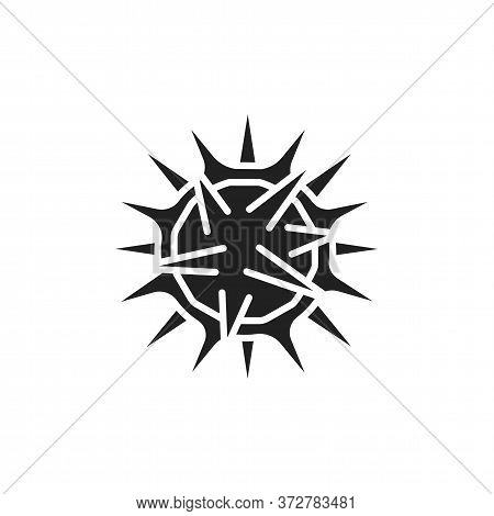 Virus Herpes Black Glyph Icon. Disease, Skin Rash Concept. Bacteria, Microorganism Sign. Pictogram F