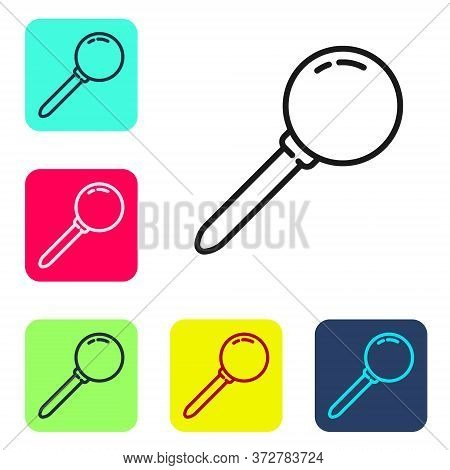 Black Line Push Pin Icon Isolated On White Background. Thumbtacks Sign. Set Icons In Color Square Bu