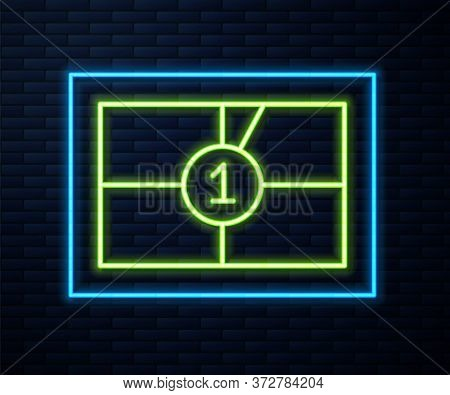 Glowing Neon Line Old Film Movie Countdown Frame Icon Isolated On Brick Wall Background. Vintage Ret