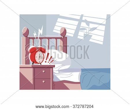 Morning Stress Semi Flat Vector Illustration. Bedroom 2d Cartoon Interior For Commercial Use. Empty