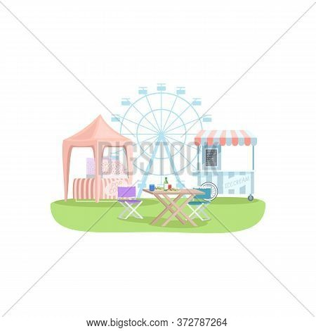 Snack Stalls Semi Flat Rgb Color Vector Illustration. Vending Kiosks Selling Ice Cream And Popcorn I