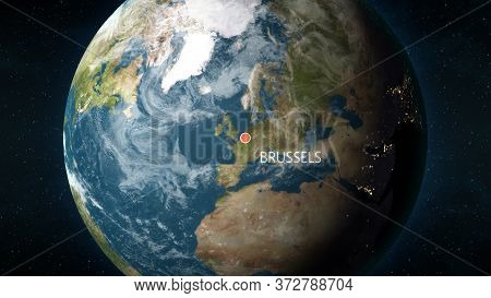 Location Of Brussels, Belgium On Globe. 3d Illustration