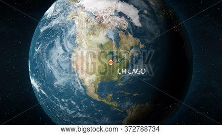 Location Of Chicago, Illinois, Usa On Globe. 3d Illustration