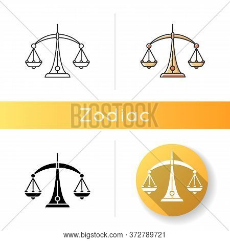 Libra Zodiac Sign Icon. Judicial System, Equilibrium, Horoscope Scales. Linear Black And Rgb Color S