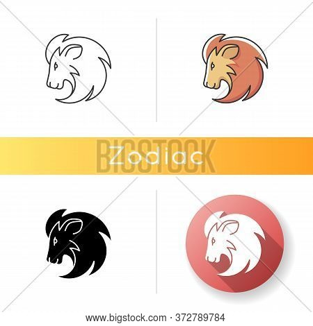 Leo Zodiac Sign Icon. Astrology, Horoscope Lion. Linear Black And Rgb Color Styles. Exotic Carnivoro