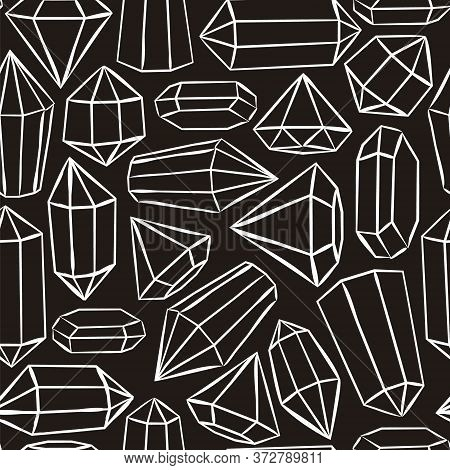 Black And White Seamless Vector Pattern With Crystals And Stars. Hand-drawn Gemstones, Diamonds, Dia