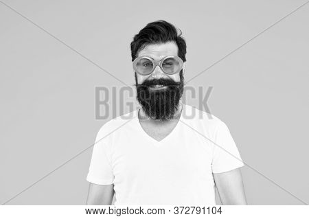 His Hair Style Looks Great. Happy Hipster Wear Shaped Beard And Mustache Hair. Bearded Man With Unsh
