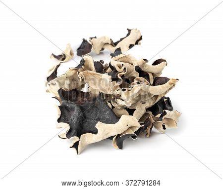Dry Black Fungus, Tree Ear Or Wood Ear Mushroom Isolated