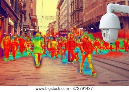 Cctv. Simulation Of Body Temperature Check By Thermoscan Or Infrared Thermal Camera. Protection Of S