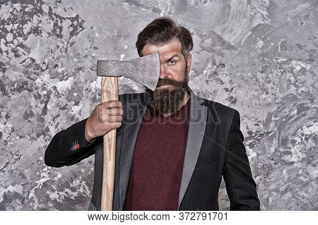 Sharp Blade. Brutality And Masculinity. Brutal Bearded Businessman. Fearless And Brave. Brutal Shavi