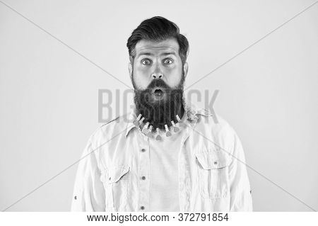 No Way. Stressed Man With Large Beard Held Together With Lots Of Clothespins. Shocking And Surprisin
