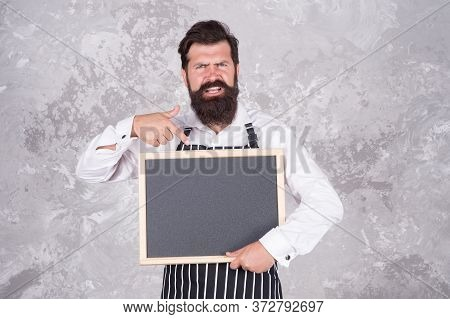 New Ideas. Welcome On Board. Brutal Man Hipster Hold Blackboard, Copy Space. Coffee To Go. Nicest Pr