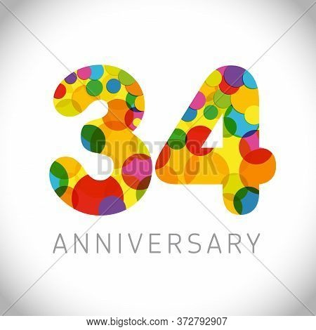 34 Th Anniversary Numbers. 34 Years Old Multicolored Congrats. Cute Congratulation Concept. Isolated