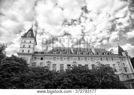 Palace In Paris France. Old Building On Cloudy Sky. Classic Architecture. Architectural Style. Build