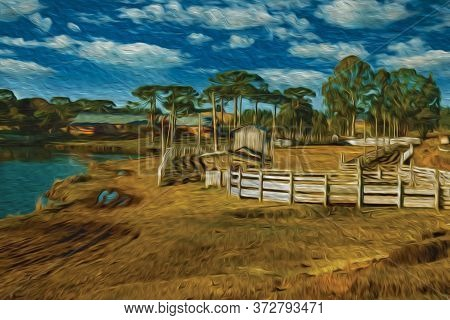 Charming Ranch With Wooden Sheds And Fences In Rural Lowlands Called Pampas Near Cambara Do Sul. A S