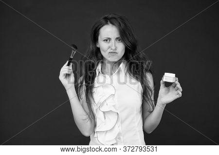 Beauty Salon. Mineral Powder. Sensual Woman With Long Hair Apply Powder On Face. Lipstick And Eyesha