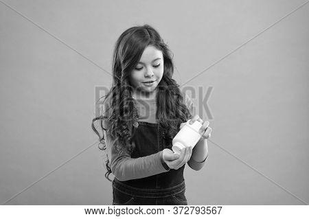 Teen Girl Taking Medicine. Children Health Care. Take Vitamin Supplements. Little Girl Eat Pills. He