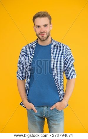 Positive And Good Vibes. Kind Person. Cheerful Mood. Man Looks Handsome In Casual Style. Guy With Br