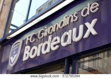 Bordeaux , Aquitaine / France - 09 18 2019 : Shop Store Sign For Fc Girondins De Bordeaux Logo Footb