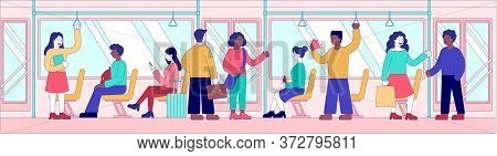 Public Transport And Commuting Concept With Diverse Passengers In A Train Seated And Standing, Color